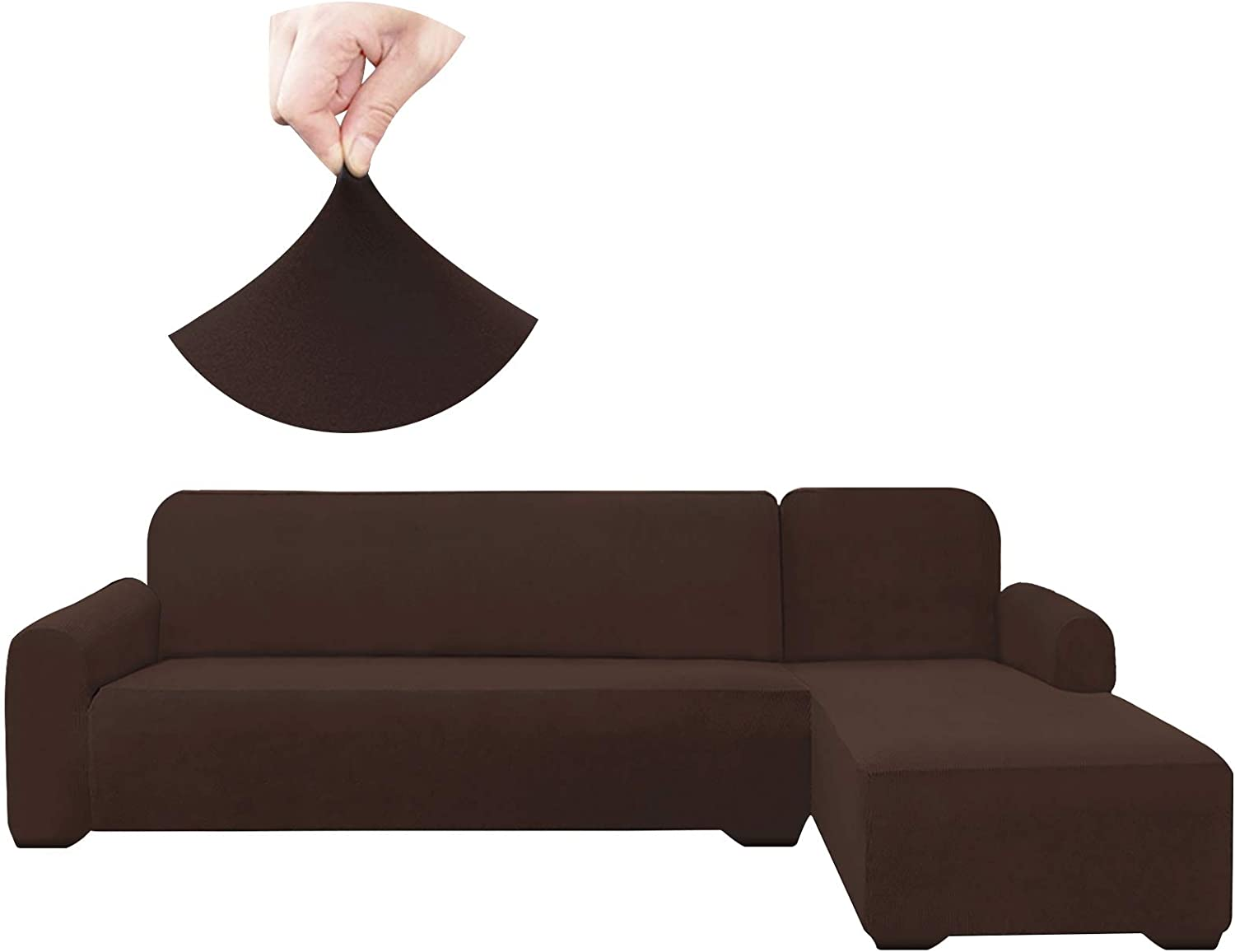 HDCAXKJ Sectional Couch Covers Super Stretch Water Resistance L Shape Sofa Cover Universal 2 Piece Thick L-Shaped Slipcovers Set Living Room Anti Slip Dogs Pets Furniture Protector (Coffee, Large)