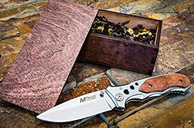Groomsmen Gift Box Set- Knife & Rustic Wooden Boxes- Pocket Knives- Groomsman, Boyfriend, or Mens Wedding Gifts- Folding Blade w/Clip 423SL