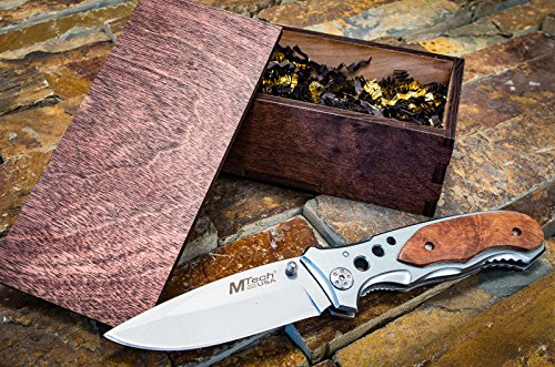 Groomsmen Gift Box Set- Knife & Rustic Wooden Boxes- Pocket Knives- Groomsman, Boyfriend, or Mens Wedding Gifts- Folding Blade w/Clip 423SL Engraved Nfl Money Clip