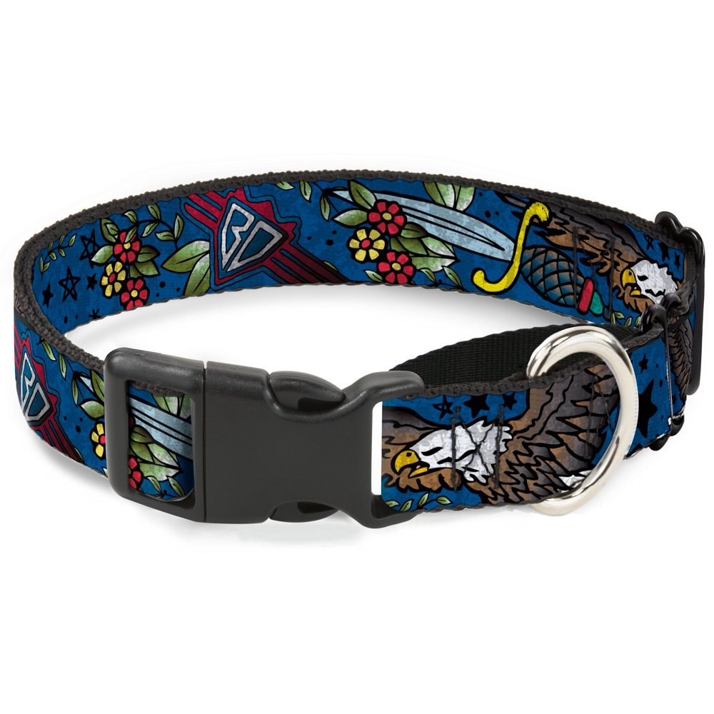 Buckle-Down MGC-W32014-L bluee Martingale Dog Collar, 1  Wide-Fits 15-26  Neck-Large