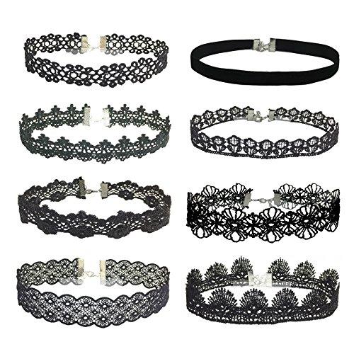 - Milakoo 8 Pcs Black Lace Velvet Choker 1.2
