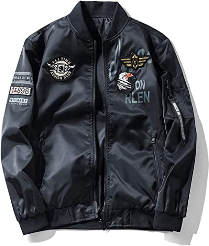 Fashion Men Casual Jacket Coat Zipper MA1 Army Flight Bomber Outerwear Overcoat
