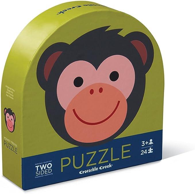 Crocodile Creek 4130-1 Two-Sided Monkey Jungle Round Puzzle (24 Piece), Green/Blue/Red/Orange