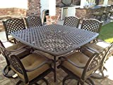 Nassau Cast Aluminum Powder Coated 8-person Patio Dining Set with Lazy Susan – Antique Bronze Review