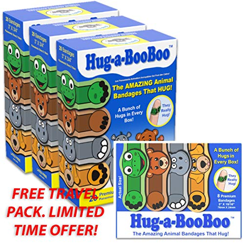 Hug-a-Booboo The Amazing Animal Hugging Kid Bandages 20 Count Box - Buy Packs and Save (Pack of 3) and Free Bonus Travel Pack