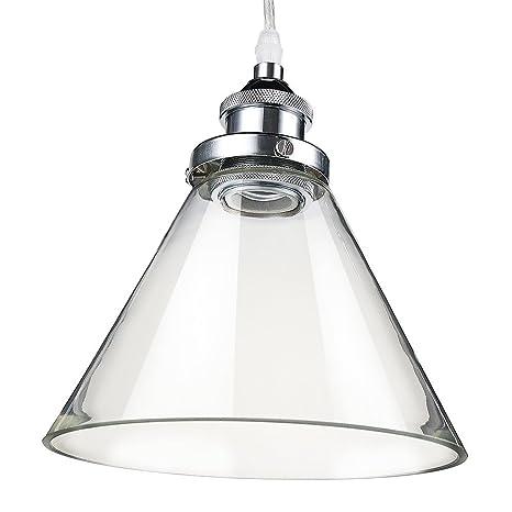 Glighone Luz Colgante Lámpara Industrial Lámpara de Techo Luz de Forma Triángulo Lámpara Vintage Estilo Retro Lámpara de Pantalla de Cristal ...