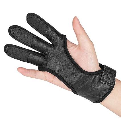 0aad9e20b8a69 Amazon.com : KRATARC Adult Archery Leather Gloves Finger Protector ...
