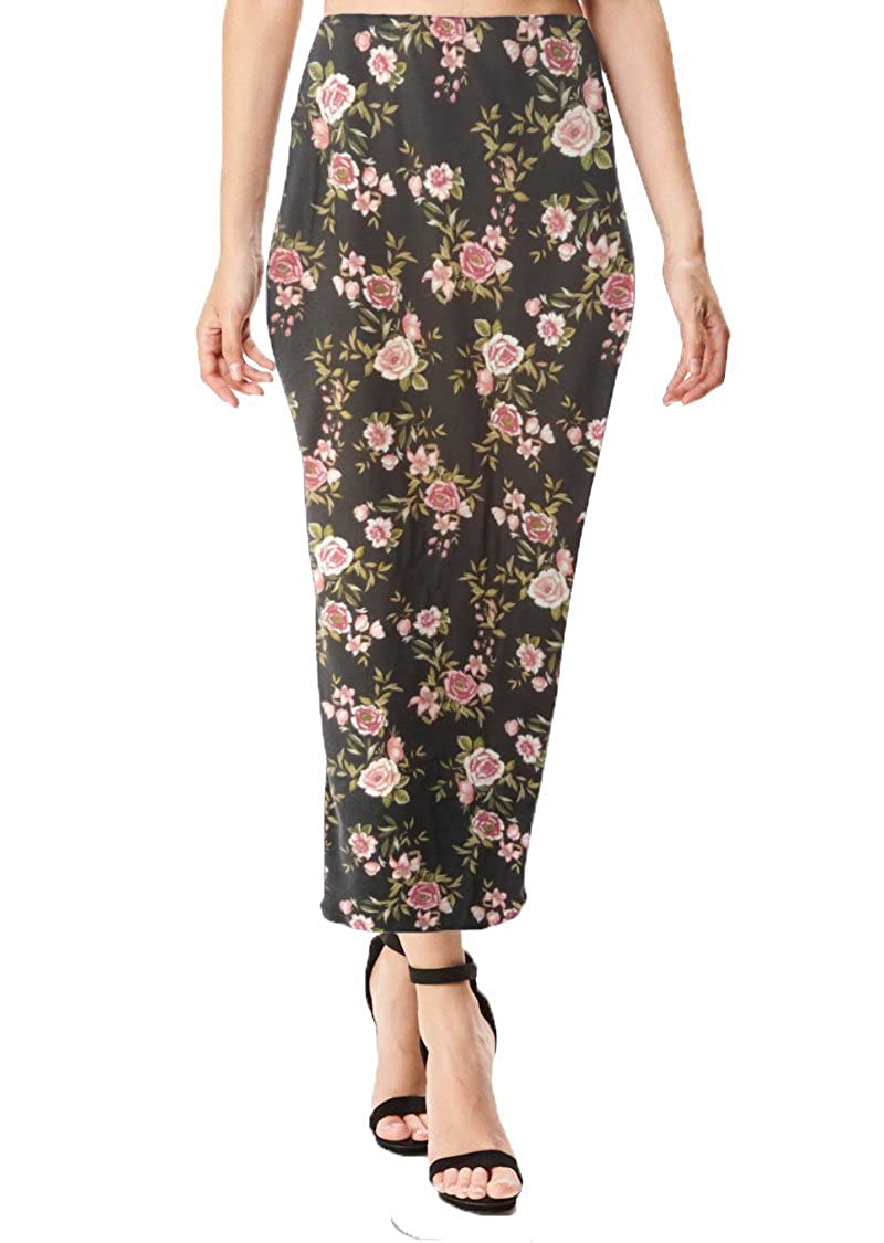 Black Pink Floral Print Brushed MoDDeals Women's Midi Long Pencil Straight Skirt Solid & Floral Maxi Casual, Office, Dressy Bodycon