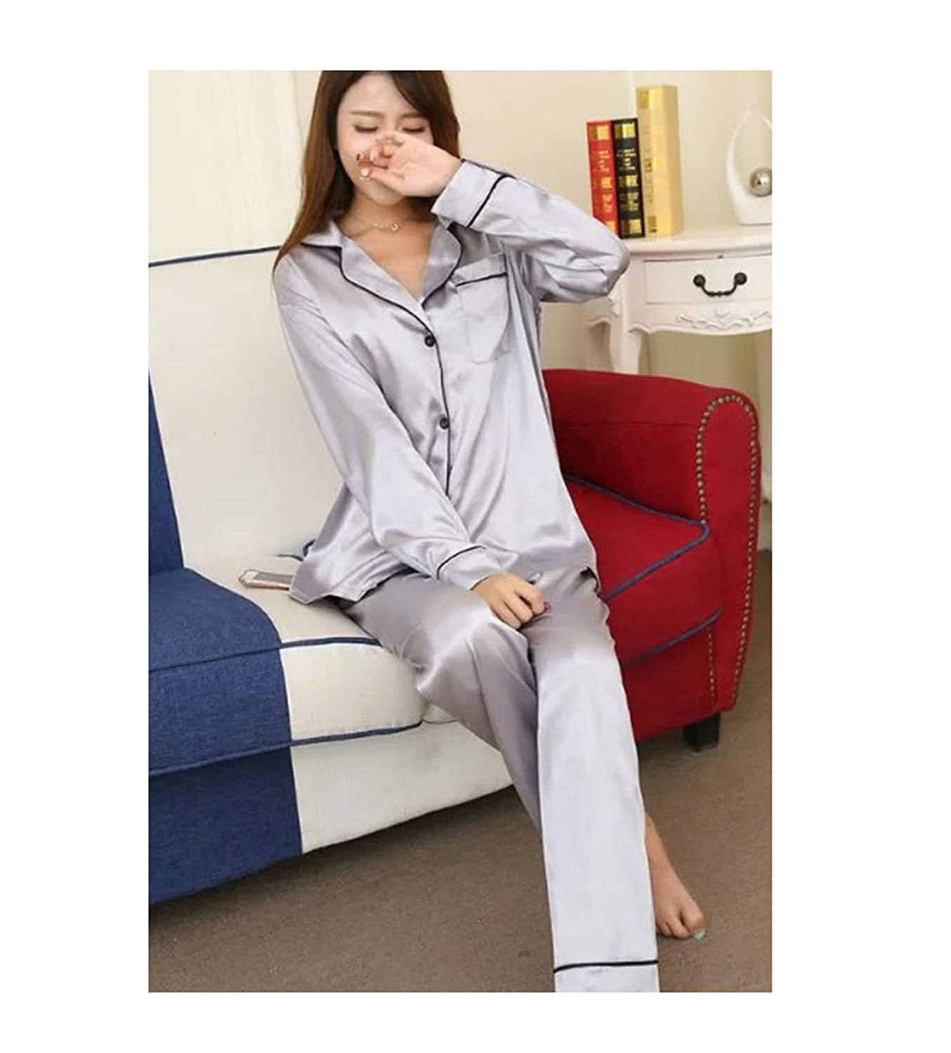 Anzhuangh Soft Silk Satin Upscale Couples Pajamas Men Women Long Sleeve Sleepwear