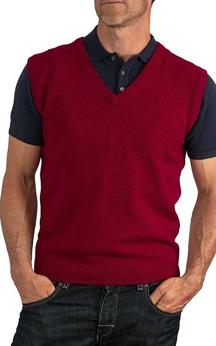 AARHON Mens Plain Sleevless V Neck Jumper Sweater Pullover Knitted Top Plus Sizes S to 5XL