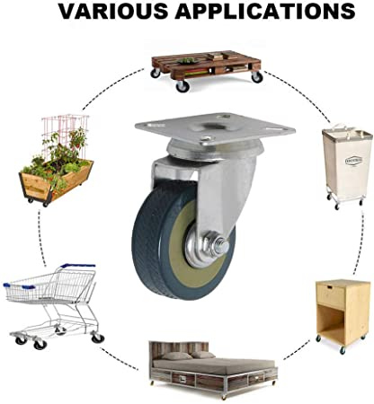 Casters,4 Pieces Medium Wardrobe Coffee Table Storage Box Furniture Wheel,Castor Wheels,Scaffold Trolley Directional Wheel,Replace Accessories with Brake Universal Wheel Smooth Ball //