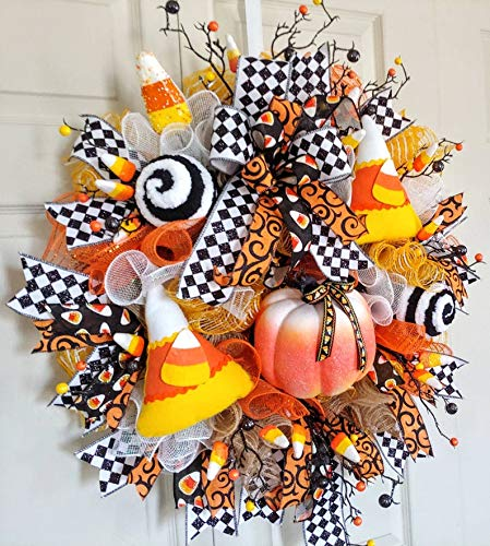 Front door wreath Fall Wreath Halloween Wreath Ready to ship Wreath for door Halloween Decor Halloween Party candy Corn Decor