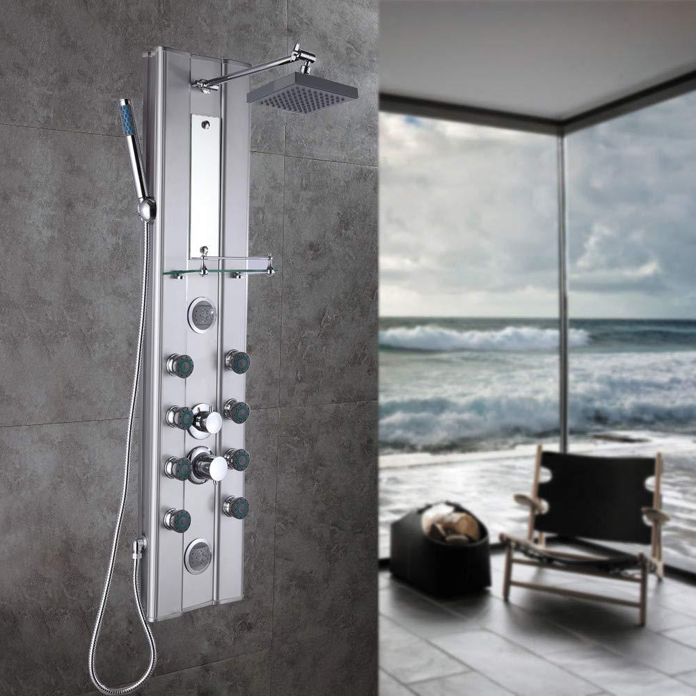 SAILUN Termostato Panel de ducha Juego de ducha Sistema de ducha de acero inoxidable con ducha de mano y ducha de lluvia cerradura de temperatura ajustable a 38 /° C