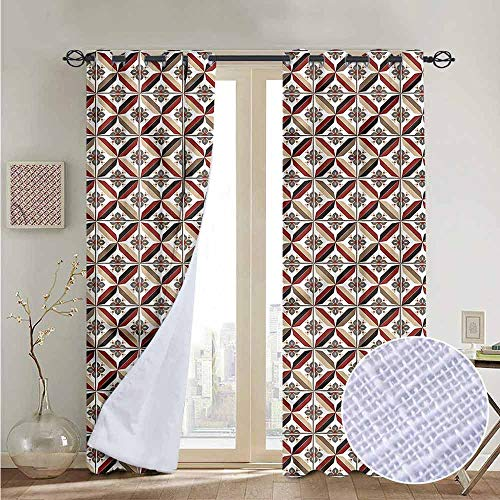 (NUOMANAN Print Curtains for Bedroom Curtain Vintage,Moroccan Style Mosaic Tiles,Grommet Window Treatment Set for Living Room 84