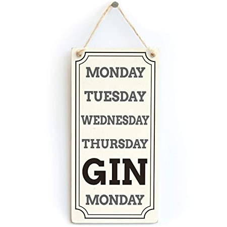 Mr.sign Gin Weekend Calendar Cartel de Pared Madera Placa ...