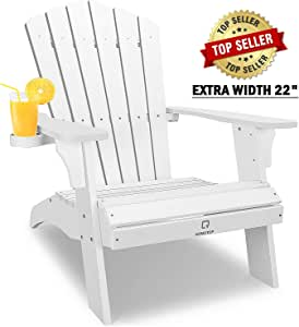 OT QOMOTOP Oversized Adirondack Chair, Cup Holder, Poly Lumber, 350lbs Duty Rating, Weather Resistant Chair, Ideal Lounge Chair for Backyard, Patio, Porch and Garden, 38L 30.25W 41.5H (White)