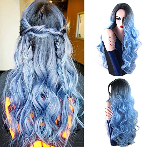 Royalvirgin Nature Color Dark Root Ombre Pastel Blue Heat Resistant Fiber Hair Long Nature Wave Light Blue Synthetic Full Wigs
