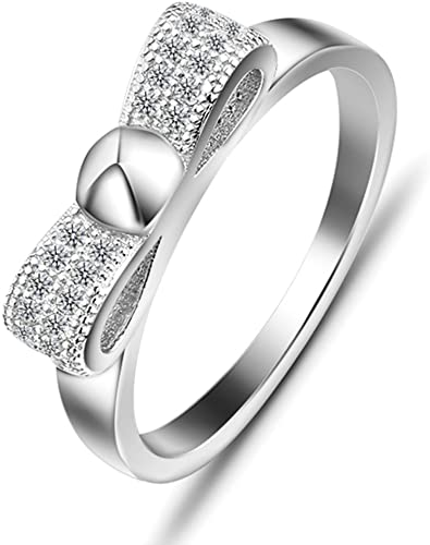 Bishilin Silver Plated Cubic Zirconia Inlaid Wedding Engagement Rings 2 Piece Size 6