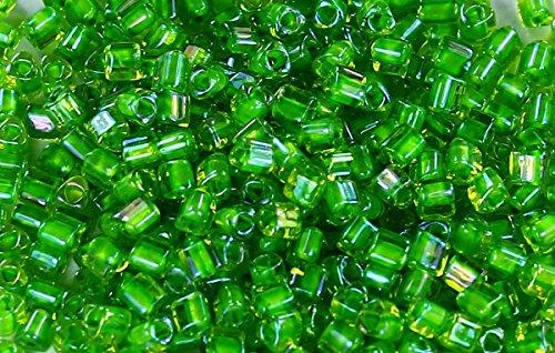 11/0 Triangle TOHO Japanese Glass Seed Beads #306-Jonquil/Shamrock Lined 15g
