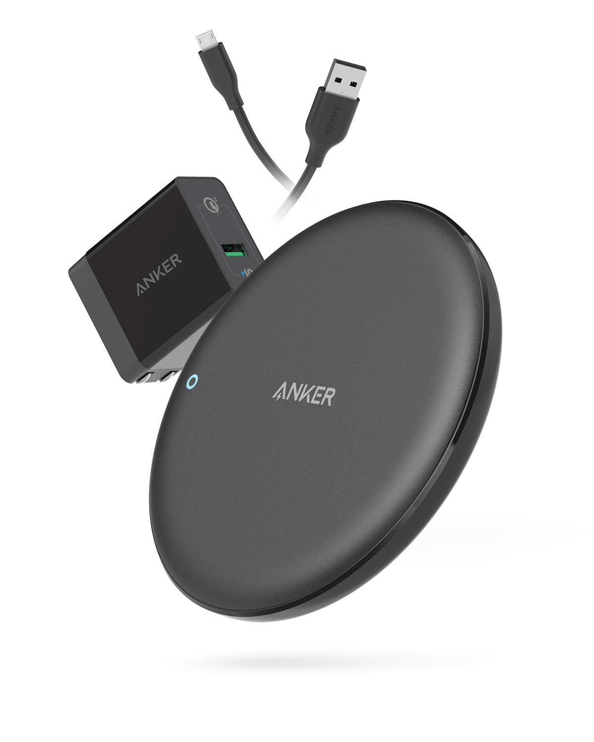Anker Wireless Charger, PowerWave 7.5 Pad with Internal Cooling Fan, 7.5W for iPhone 11, 11 Pro, 11 Pro Max, XS Max, XR, XS, X, 8, 8 Plus, 10W for Galaxy S10 S9 S8, Note 10 (with Quick Charge Adapter) by Anker