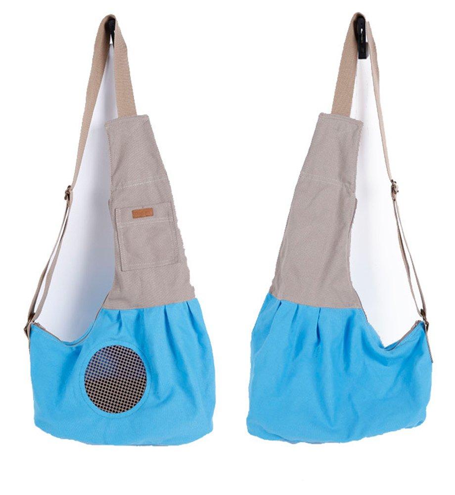 bluee LILYS PET Pet Dog Cat Puppy Sling Carrier,Adjustable Pet Shoulder Bag Sling Carrier Breathable Mesh Design (bluee)