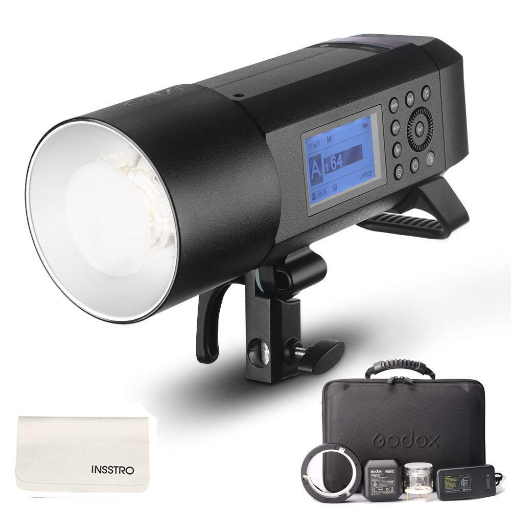Godox AD400Pro All-in-One Outdoor Flash Strobe, 400W 2.4G TTL Portable Speedlite with Battery and AC/DC Powered with Bowens Mount and Godox Mount by Godox