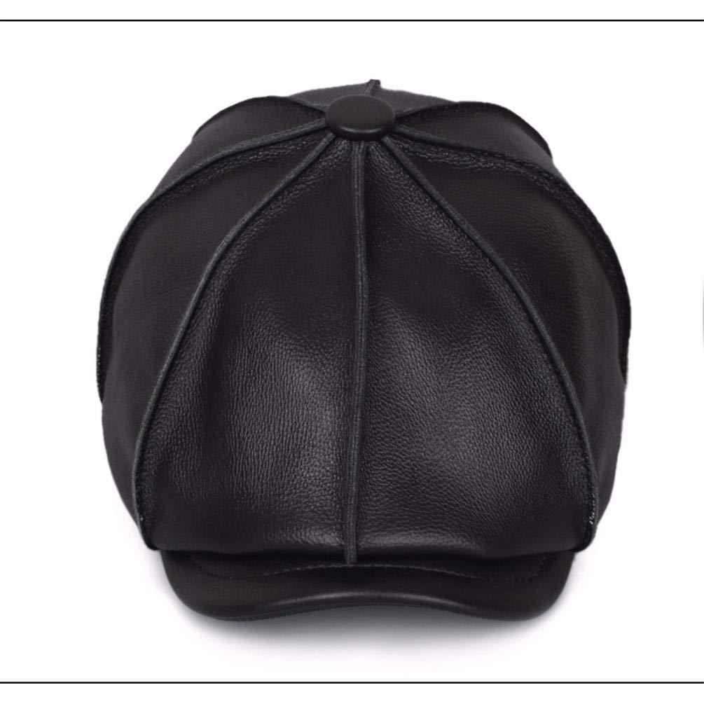 LIUXINDA-PM Mens Winter Casual Leather Octagonal Cap Leather Cap