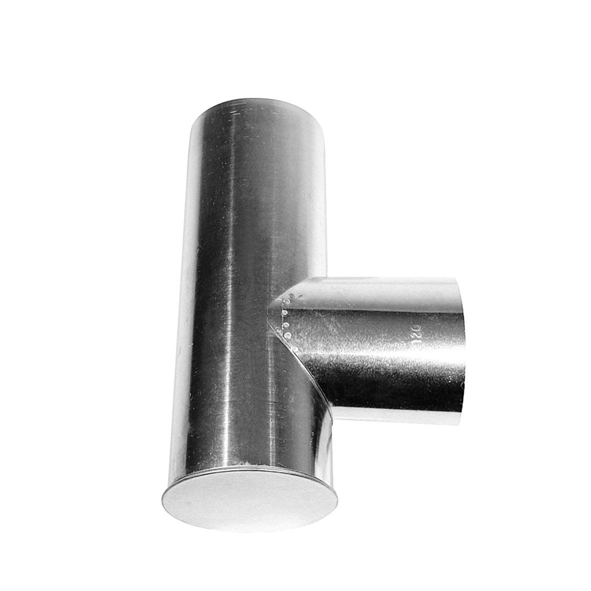 Kamino - Flam – Tubo T para chimenea (Ø 130 mm/longitud 330 mm), Tubo T para estufa de leña, Conducto de humos en forma T – acero resistente a altas temperaturas – durable, estable – plata Tubo T para estufa de leña