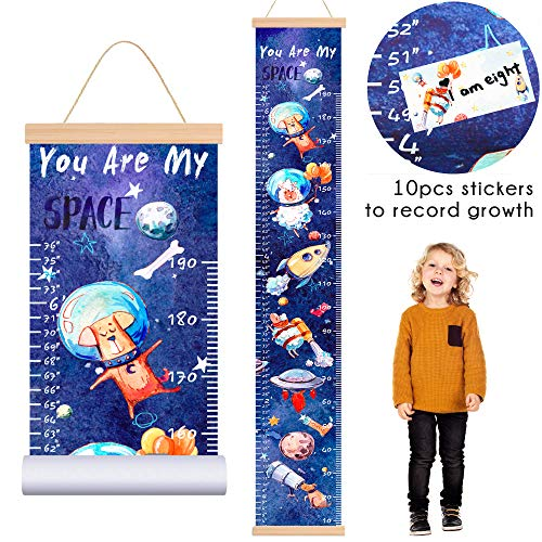 ETIUC Baby Kids Height Growth Chart Cartoon Animals Ruler for Kids Solar System Space Dog Roll-up Canvas with Wooden Frame Nursery Removable Wall Hanging Decor for Boys Girls Room 78.7