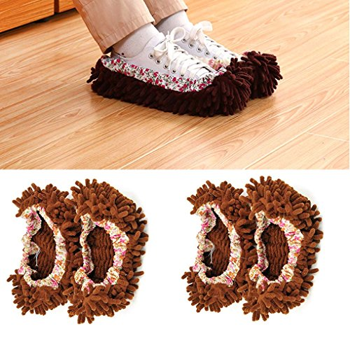 4pcs (2 Pairs) Mop Slippers Shoes Cover, Soft Washable Reusable Microfiber Foot Socks Floor Dust Dirt Hair Cleaner for Bathroom Office Kitchen House Polishing Cleaning (Brown, two - Pack Slipper Socks 2
