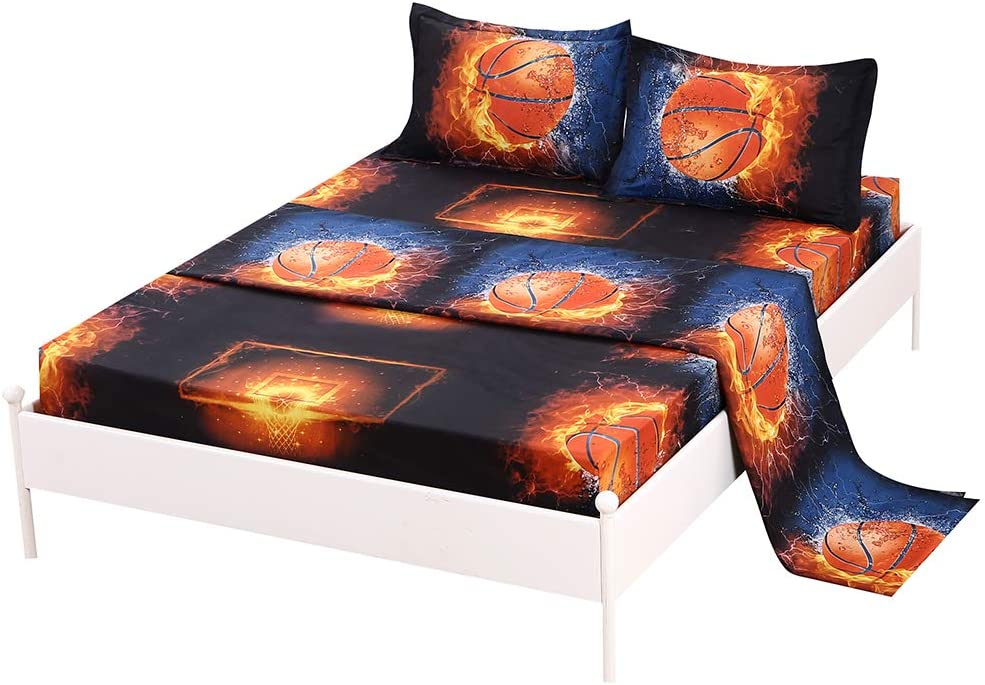 SDIII 3PC Basketball Sheet Sets Twin Size Sport Bedding Sheet Sets with Flat Fitted Sheet for Boys, Girls and Teens