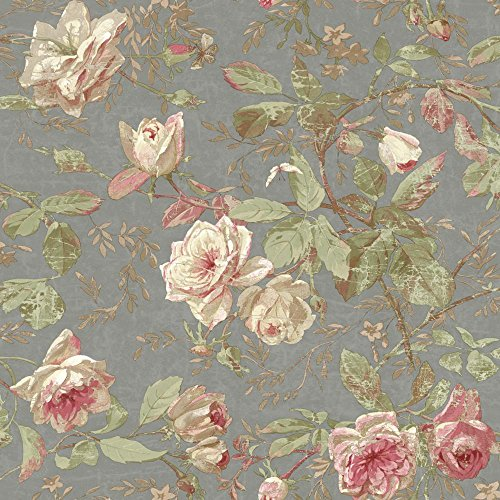 York Wallcoverings SH5503 Vintage Luxe Floral Wallpaper, Pewter, Pink, Cream, Beige, Tan, Green