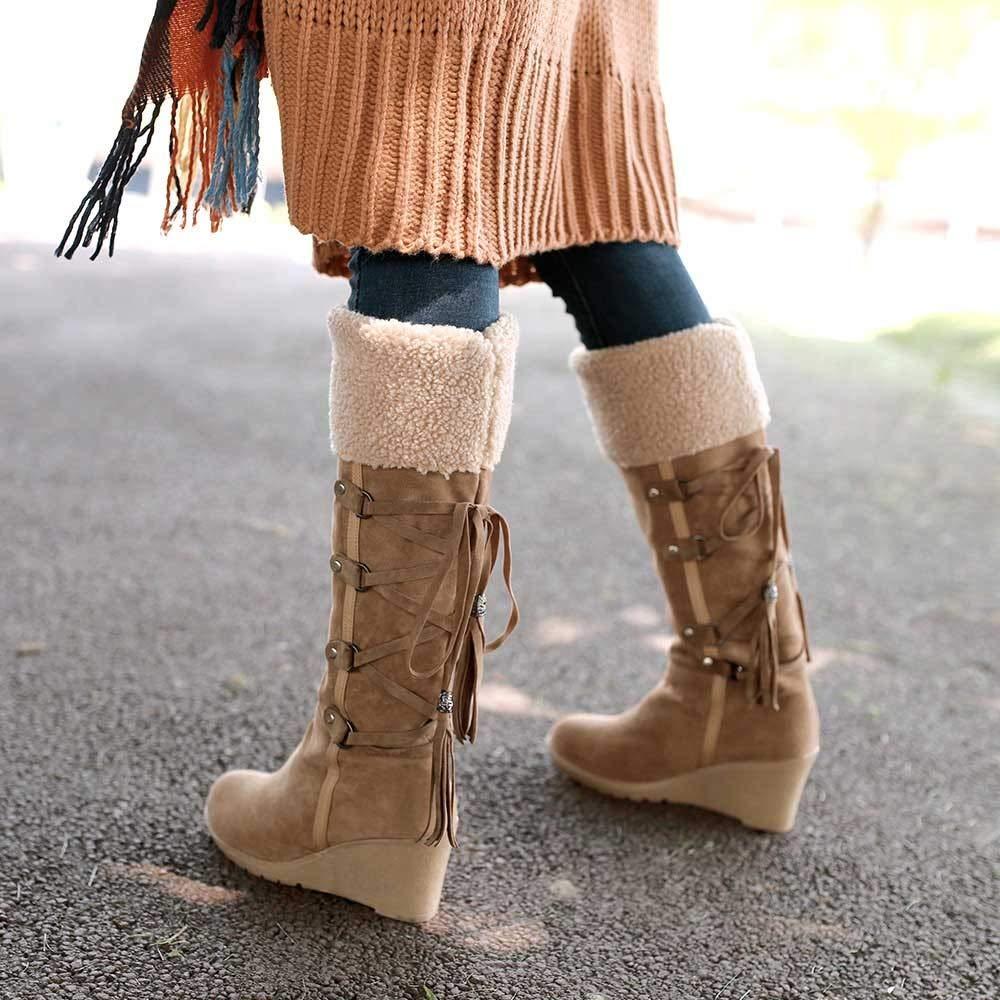 Botas Altas Mujer JiaMeng Invierno Muslo Alto Botines Martin La Rodilla Boots Después de lijar con borlas Botas Altas Botas con cuñas Botas de Nieve: ...