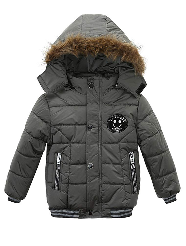ARAUS Kids Boy Winter Jacket Parka Down Hooded Padded Thick Warm Coat Outerwear Clothes 1-5 Years