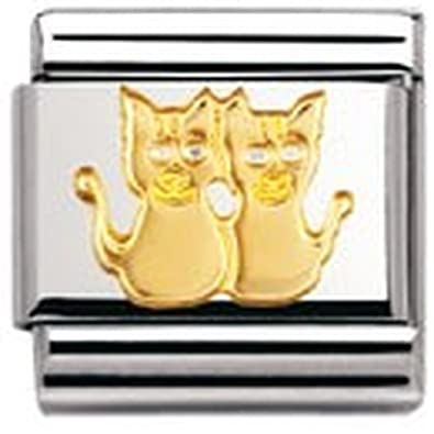 Nomination Composable Classic Land Animals Dog Stainless Steel and 18K Gold 4zRON3a