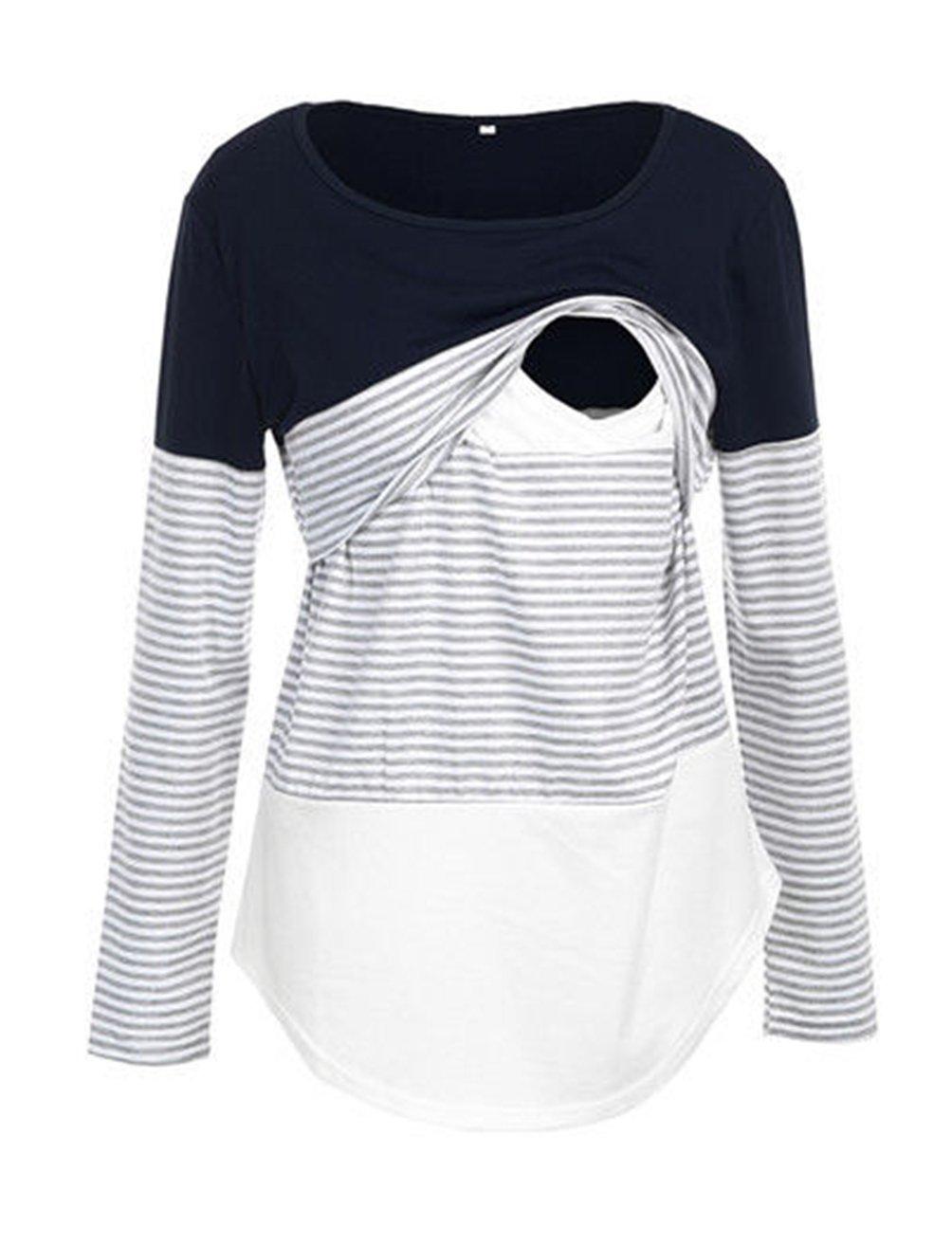 Charbolin Women Maternity Lace Striped Nursing Tops Long Sleeve Stitching Breastfeeding Shirt Tops (S, Navy Blue)