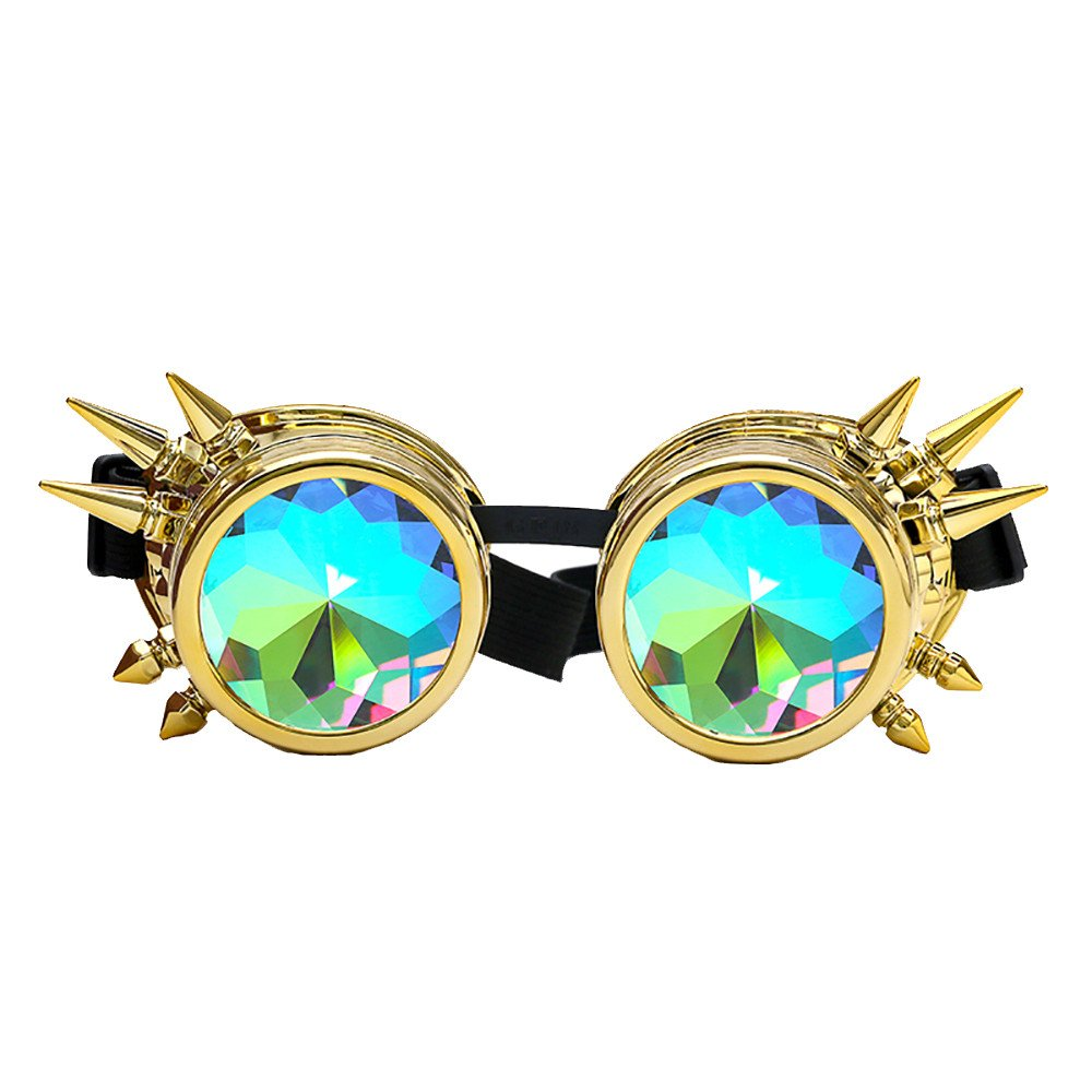 POHOK Rainbow Prism Kaleidoscope Rave Glasses, Diffraction Steampunk Goggles Industrial Look