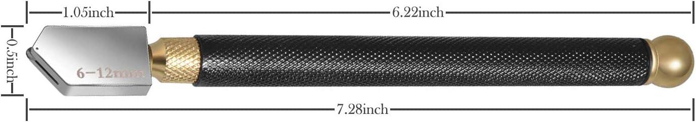 Glasschneider-Set mit Schraubendreher /Ölzufuhr Bleistift-Stil Hartmetall-Spitze zum Glasschneiden Glasschneider 20 mm 2 mm