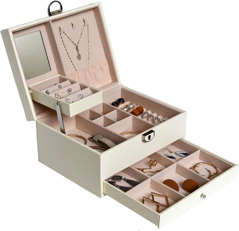HerFav Bo/îte /à Bijoux pour Femmes en Cuir Blanc Verrouillable avec Miroir et Compartiments pour Bagues Colliers Bracelets Boucles D/'Oreilles