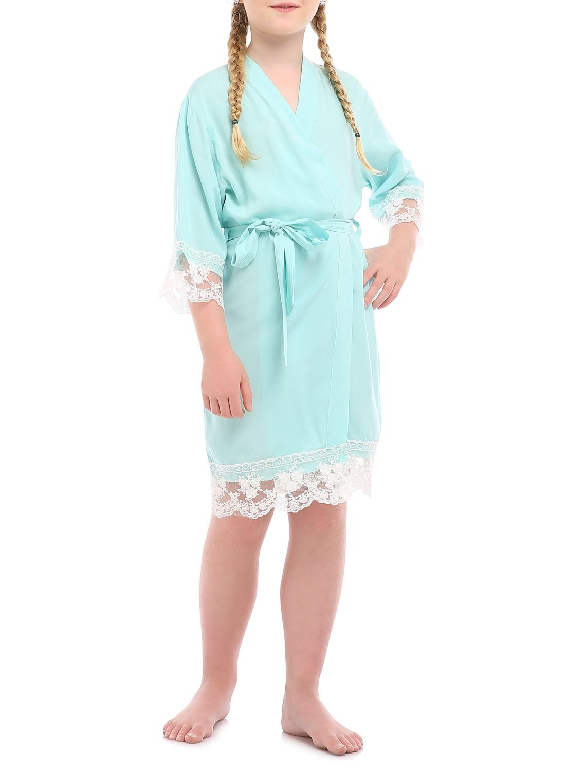 Girl's Junior Bridesmaid Rayon Cotton Lace Robe for Wedding Gift(12,Mint)