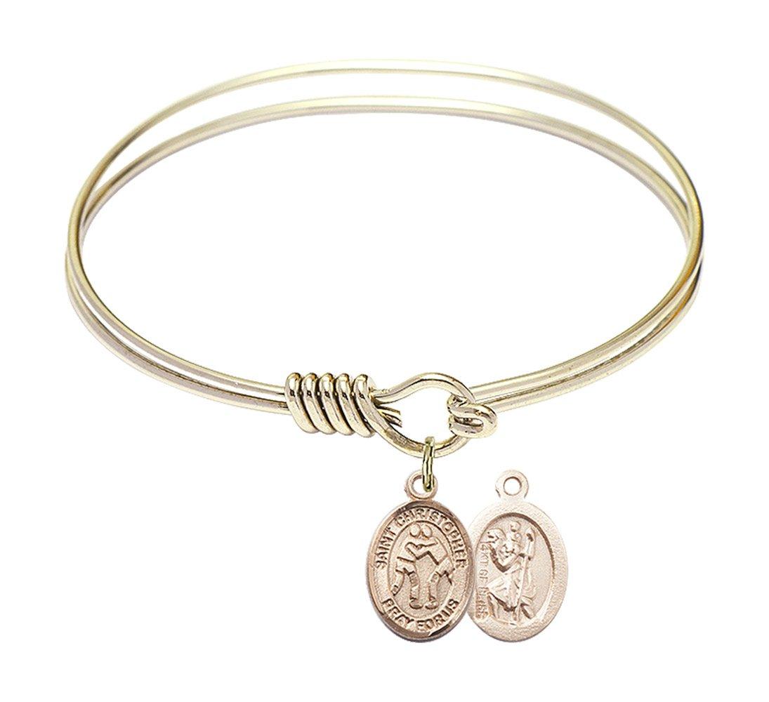 6 1/4 inch Round Eye Hook Bangle Bracelet with a St. Christopher/Wrestling charm.
