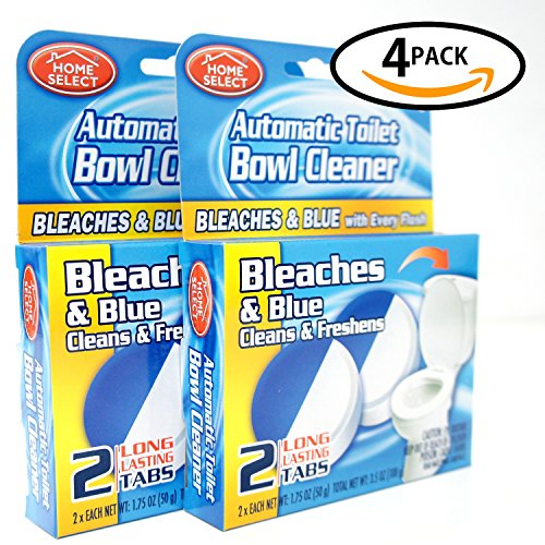 HOME SELECT Automatic Toilet Bowl Cleaner With Bleach,Keep the Air Freshener Bathroom (Blue,4Pack * 2Tablets 3.5oz)