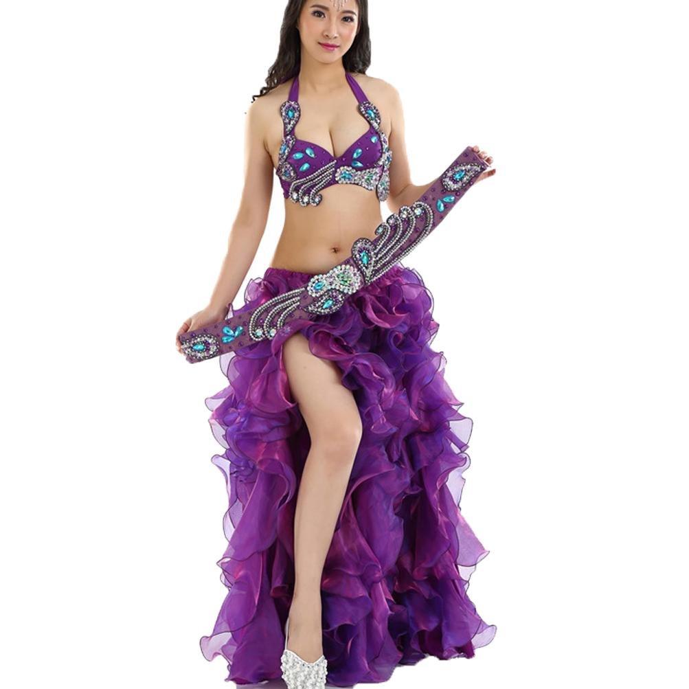 MoLiYanZi MoLiYanZi MoLiYanZi Damen Bauchtanz-Outfit Set Professionel Performance Kostüm Aufgeteilter Rock 3 Stück B07BFWF73X Bekleidung Ausgezeichnete Qualität 24c700