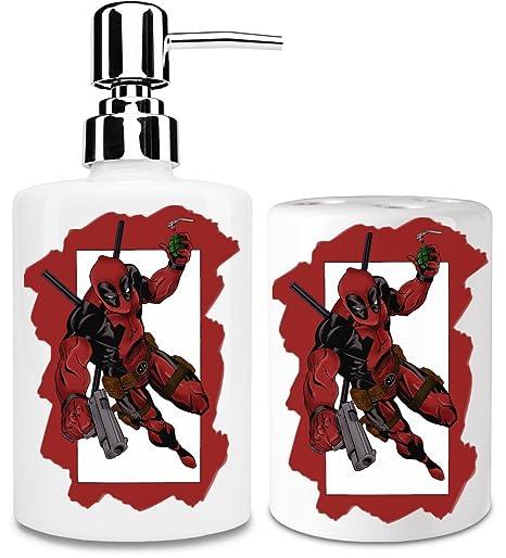 Deadpool Frame Jump Dispensador de jabón y Porta Cepillo de dientes