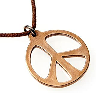 product image for Medium Peace Symbol Peace Bronze Necklace on Adjustable Natural Fiber Cord