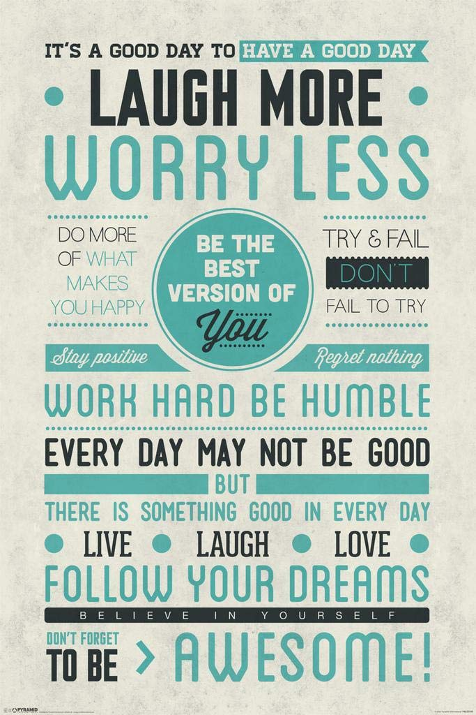 Pyramid America Be Awesome Laugh More Worry Less Motivational Matted Framed Poster 20x26 inch