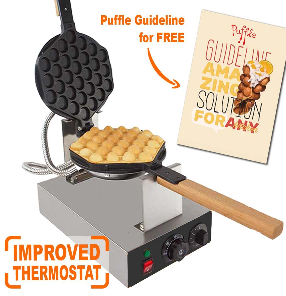 IMPROVED Puffle Waffle Maker Professional Rotated Nonstick ALD Kitchen (Grill / Oven for Cooking Puff, Hong Kong Style, Egg, QQ, Muffin, Eggettes and Belgian Bubble Waffles) (110V with US PLUG)