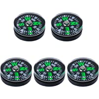 Magideal 5X 15mm Pocket Survival Liquid Filled Button Compass for Camping Hiking