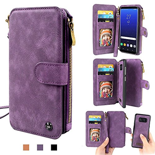 Galaxy S8 Plus Hülle, Galaxy S8 Plus Wallet Brieftasche, Samsung Galaxy S8 Plus Holster Abnehmbare Tasche Premium PU Leder Flip Zipper Tasche Holster Loch Shell Schutz Bag Etui 14 Karte Slot Flip Zipp