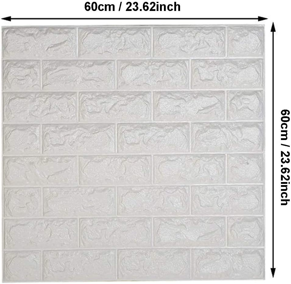 24 Pcs, Blanco DIY Pared Pegatinas Decoraci/ón de Pared en Relieve Piedra de ladrillo Para Casa Sala de Estar TV Fondo Pared WANWEITONG 3D Papel Pintado ladrillo PE de Espuma de 3D Wallpaper